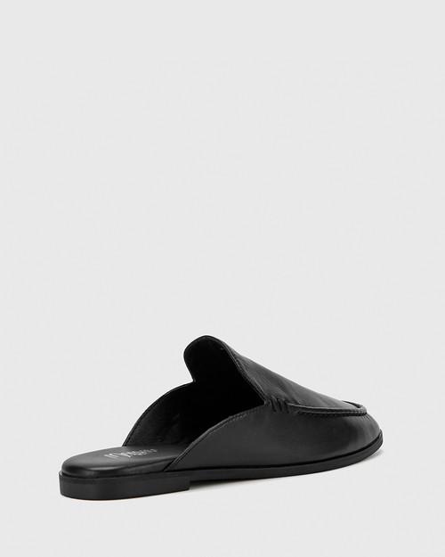 Anzel Black Leather Almond Toe Flat Mule. & Wittner & Wittner Shoes