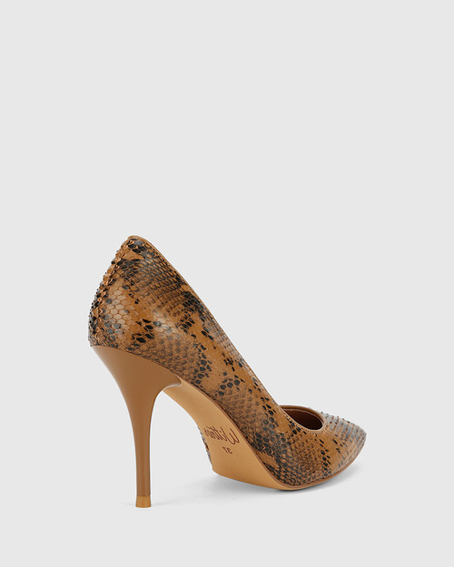 Hughes Camel Snake Print Leather Pointed Toe Stiletto Heel.