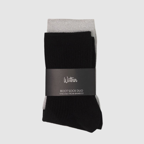 Boot Sock Duo  Black/Grey Marle  & Wittner & Wittner Shoes