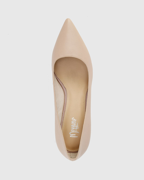 Delores Nude Leather Pointed Toe Kitten Heel.