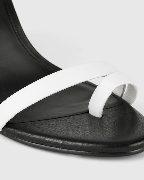 Regeena White Leather Block Heel Sandal.