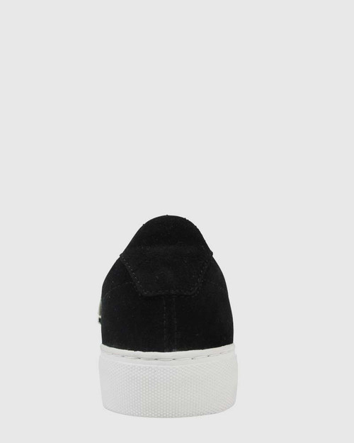 Paolo Black Suede Sneaker with Silver Chain