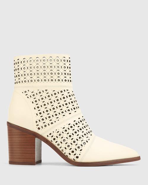 Pasher Buttercream Leather Lasercut Block Heel Ankle Boot. & Wittner & Wittner Shoes