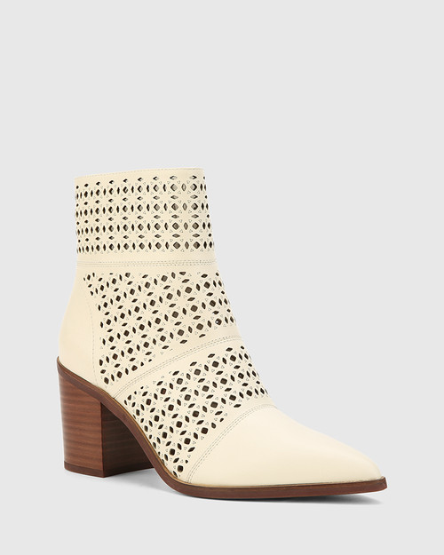Pasher Buttercream Leather Lasercut Block Heel Ankle Boot.