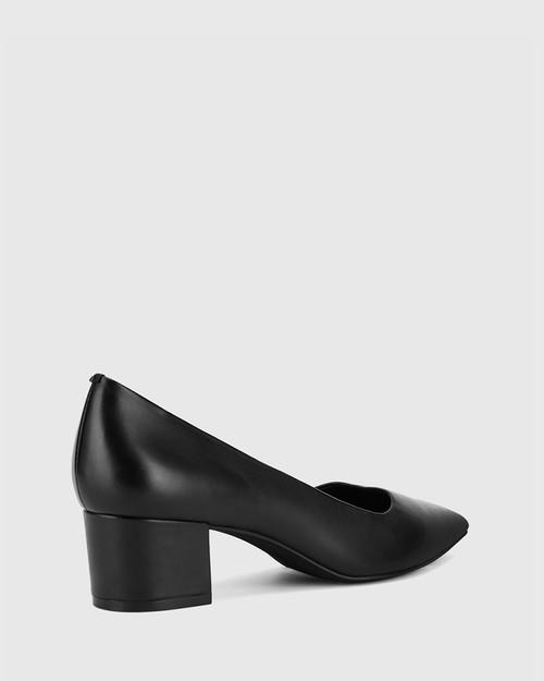 Gardenia Black Leather Block Heel Pointed Toe Pump. & Wittner & Wittner Shoes