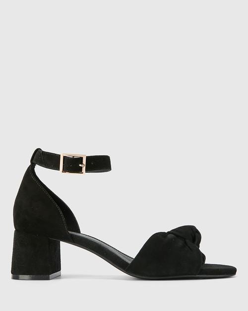 Isadore Black Suede Block Heel Sandal. & Wittner & Wittner Shoes