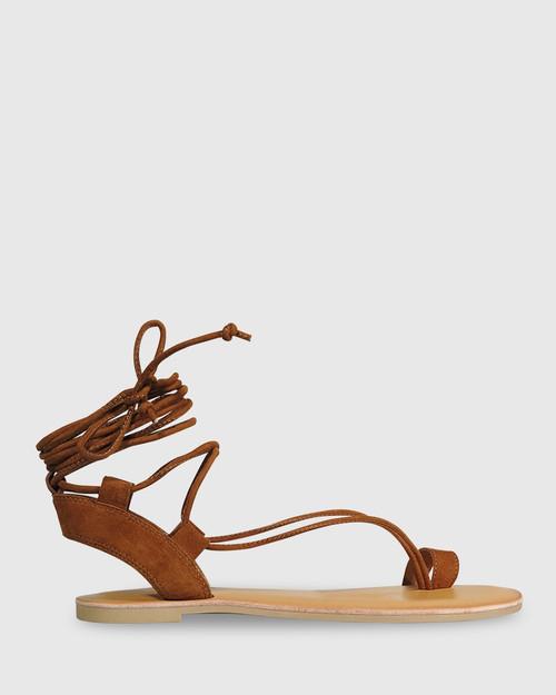 Finnigan Tobacco Suede Tie Up Flat Sandal. & Wittner & Wittner Shoes