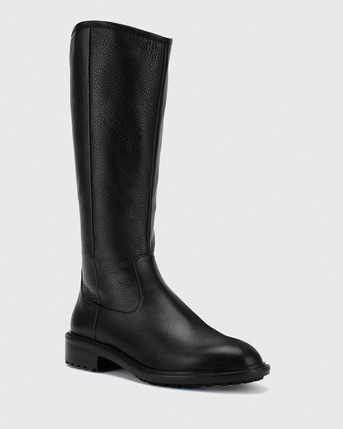 Denton Black Leather Round Toe Long Boot.
