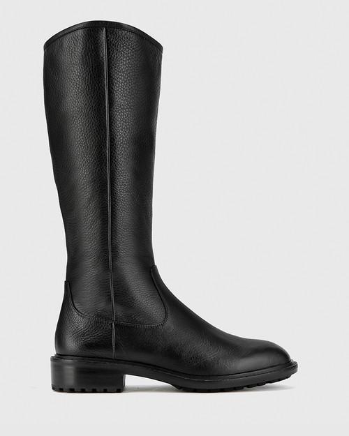 Denton Black Leather Round Toe Long Boot. & Wittner & Wittner Shoes