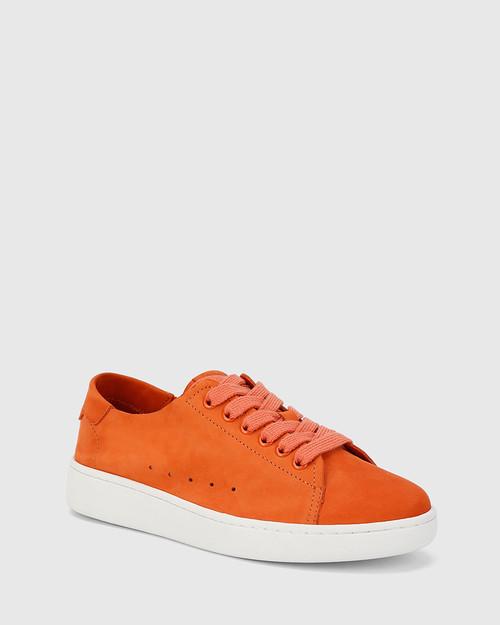 Graphite Burnt Orange Nubuck Leather Lace Up Sneaker