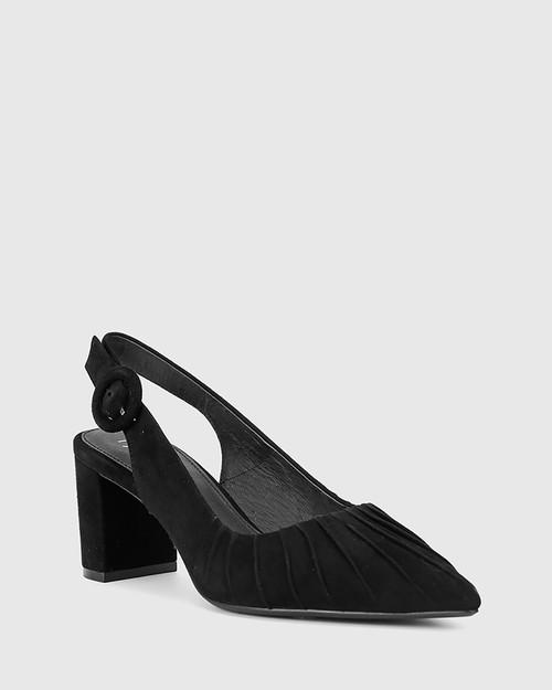 Daiso Black Suede Leather Slingback Block Heel.