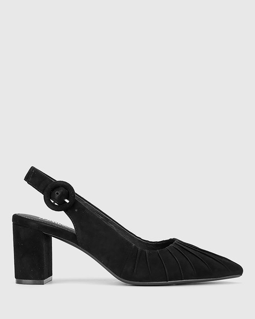 Daiso Black Suede Leather Slingback Block Heel. & Wittner & Wittner Shoes