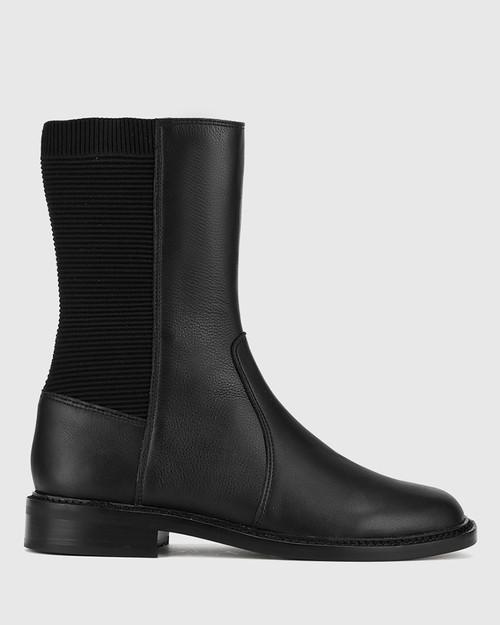 Blane Black Leather Stretch Gusset Pull On Flat Boot. & Wittner & Wittner Shoes