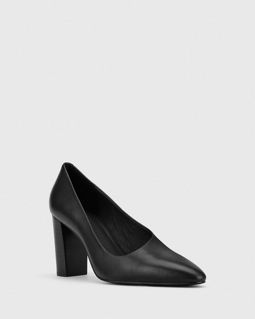 Patterson Black Leather Almond Toe Block Heel. & Wittner & Wittner Shoes