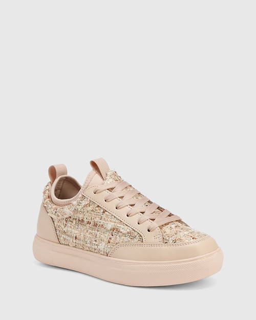Onika Pink Tweed Boucle Sneaker
