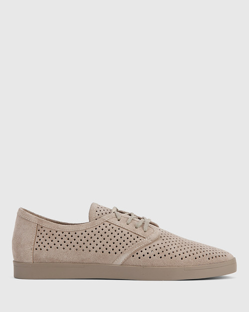 Alara Stone Suede Leather Lace Up Sneaker