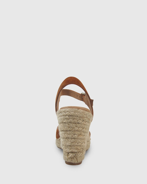 Umiko Tobacco Suede Espadrille Open Toe Wedge. & Wittner & Wittner Shoes