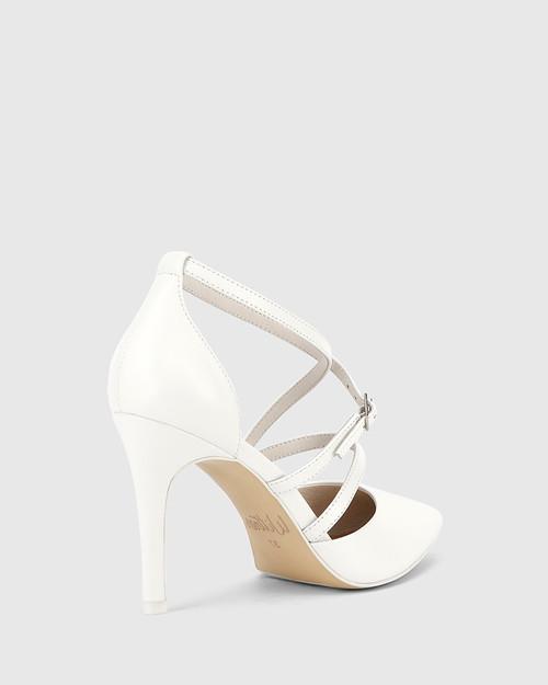 Hanisha White Leather Point Toe Stiletto Heel. & Wittner & Wittner Shoes