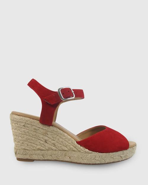 Umiko Red Suede Espadrille Open Toe Wedge. & Wittner & Wittner Shoes