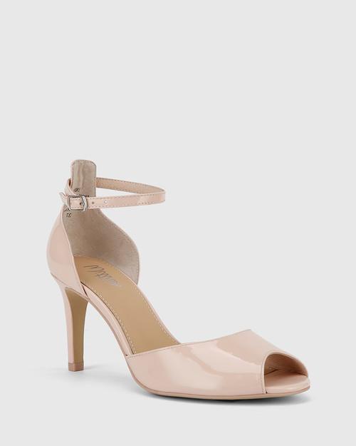 Inka Powder Pink Patent Leather Stiletto Heel Sandal.
