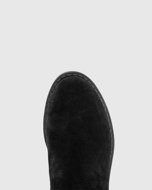 Devanna Black Suede Round Toe Flat Boot. & Wittner & Wittner Shoes
