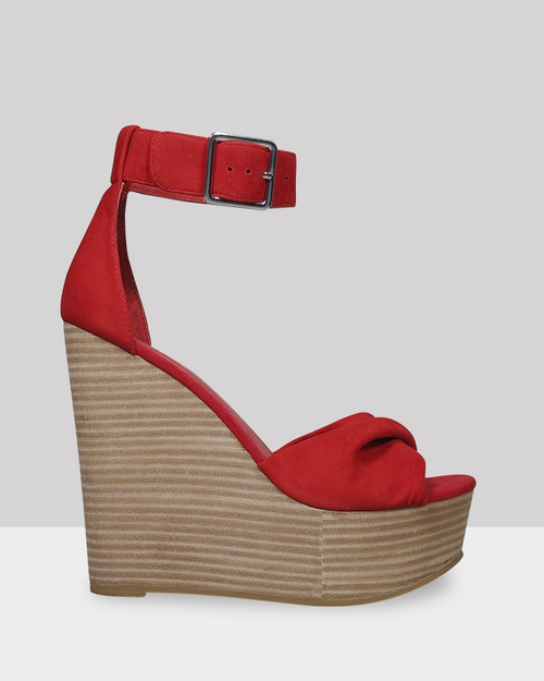 Winslet Red Suede Wedge.