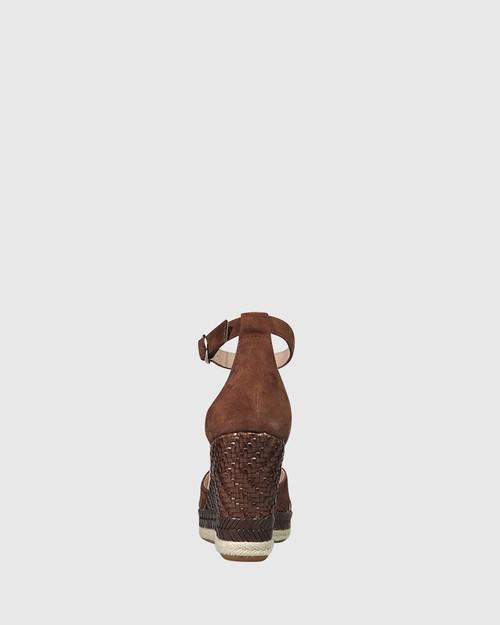 Valeria Dark Brown Suede Open Toe Wedge. & Wittner & Wittner Shoes