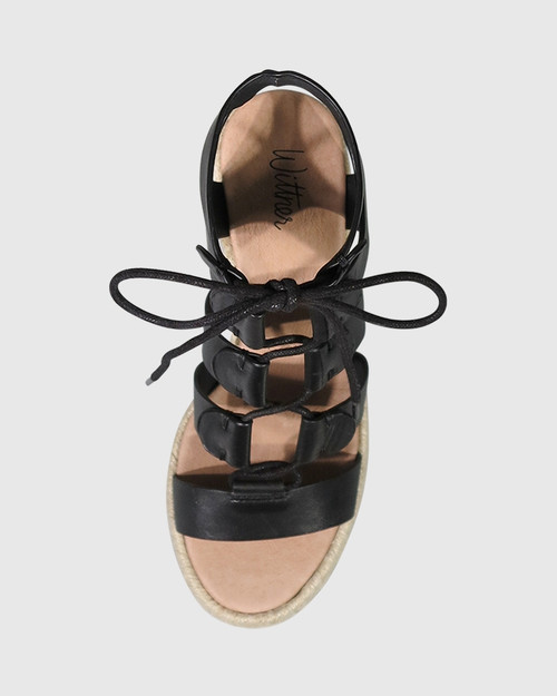Venita Black Leather Lace Up Espadrille Style Wedge. & Wittner & Wittner Shoes