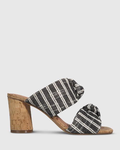 Caralyn Black Woven Knot Block Heel Sandal. & Wittner & Wittner Shoes