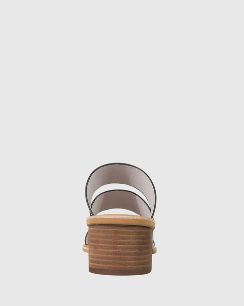 Ginnifer White Leather Block Heel Slide. & Wittner & Wittner Shoes