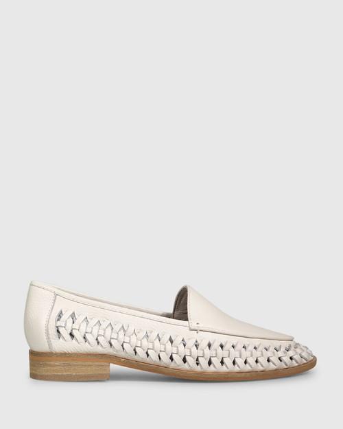Haylie Vintage Ivory Leather Weave Detail Pointed Toe Loafer. & Wittner & Wittner Shoes