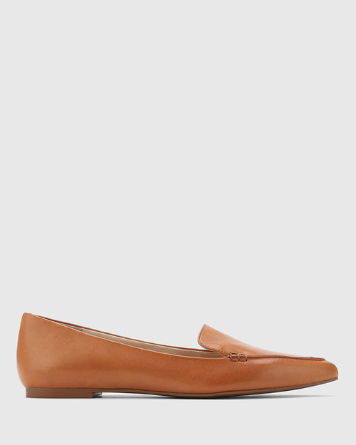 Packham Tan Leather Pointed Toe Flat