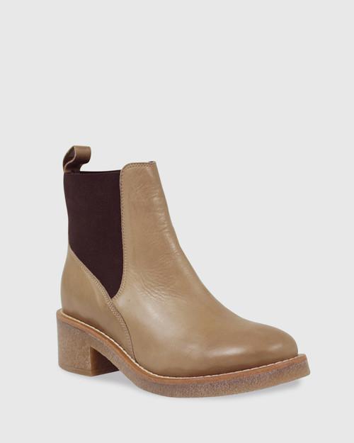 Kalinda Beige Leather Stretch Round Toe Block Heel Ankle Boot.