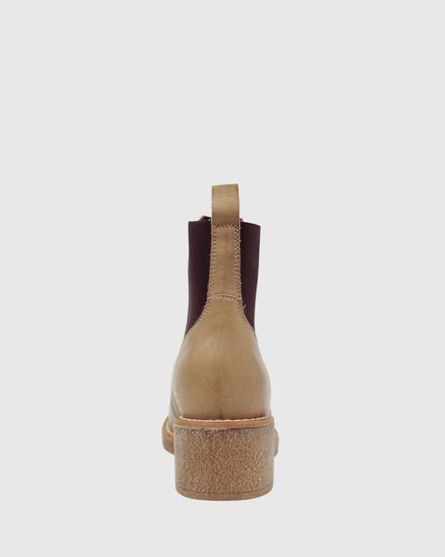 Kalinda Beige Leather Stretch Round Toe Block Heel Ankle Boot. & Wittner & Wittner Shoes