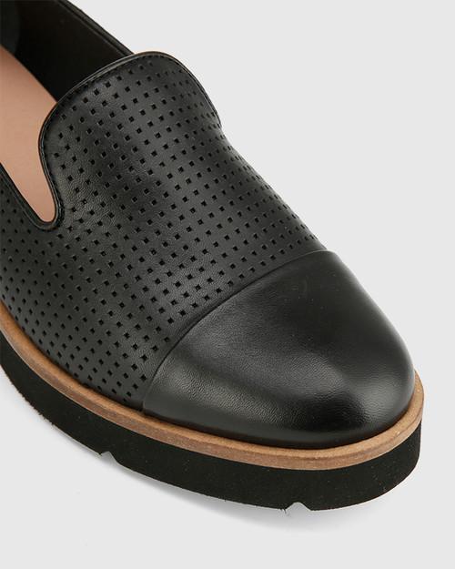 Janey Black Pin Punch Leather Flatform Wedge Slip On Loafer. & Wittner & Wittner Shoes