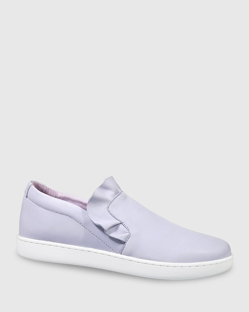 Anner Lilac Leather Ruffle Detail Sneaker. & Wittner & Wittner Shoes