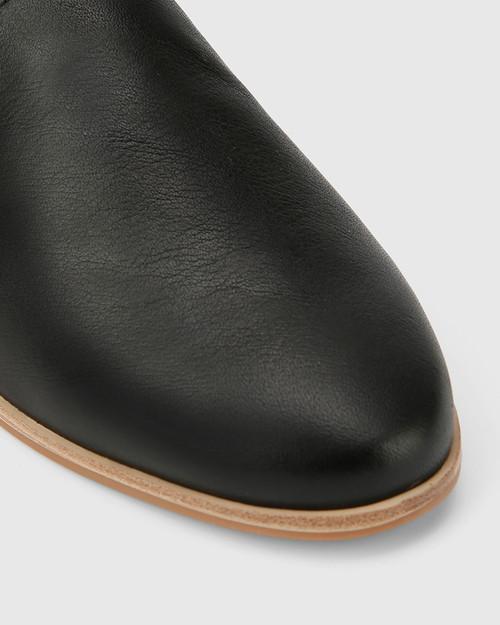 Caela Black Leather Loafer.