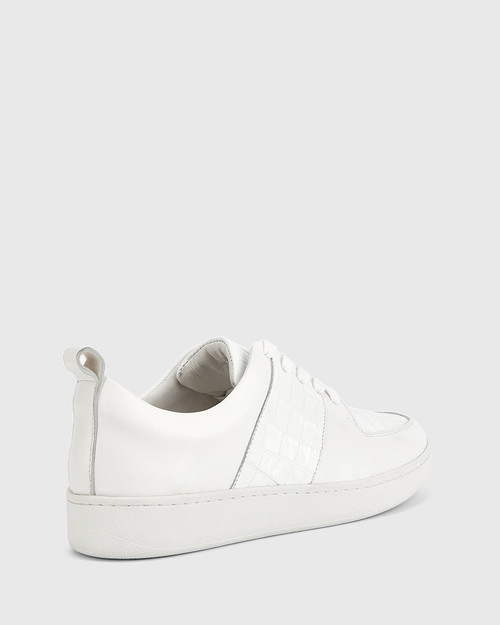 Gino White Smooth Croc Leather Lace Up Sneaker.