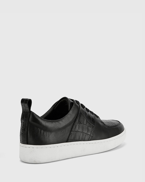 Gino Black Smooth Croc-Embossed Leather Lace Up Sneaker & Wittner & Wittner Shoes