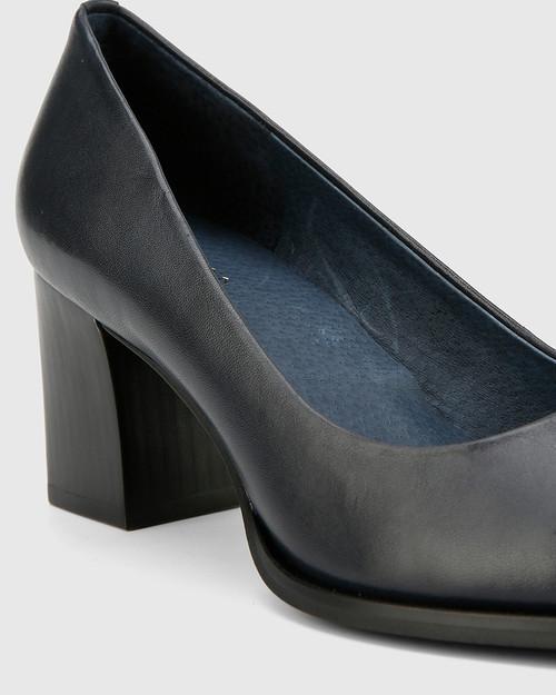 Nonie Nautical Navy Nappa Leather Block Heel Round Toe