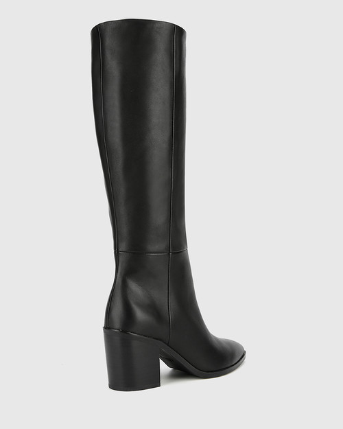 Preslee Black Leather Block Heel Long Boot.