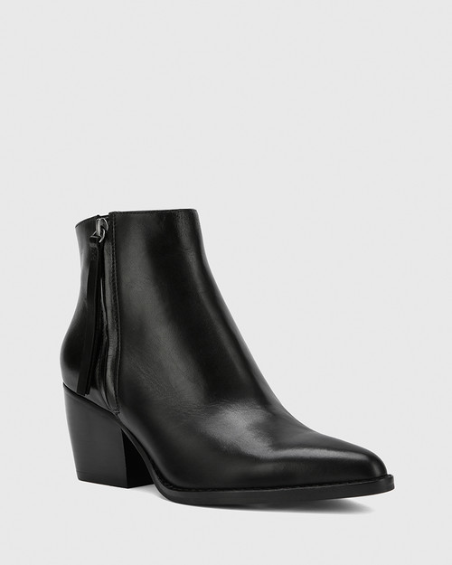 Kymberly Black Nappa Leather Block Heel Ankle Boot. & Wittner & Wittner Shoes
