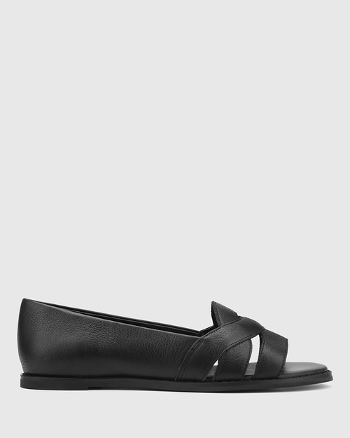 Julieta Black Leather Open Toe Slip On Flat. & Wittner & Wittner Shoes
