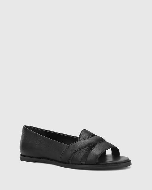 Julieta Black Leather Open Toe Slip On Flat.