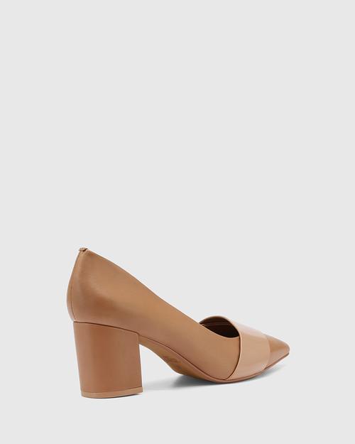 Danko Sunkissed Tan Patent Leather Pointed Toe Block Heel