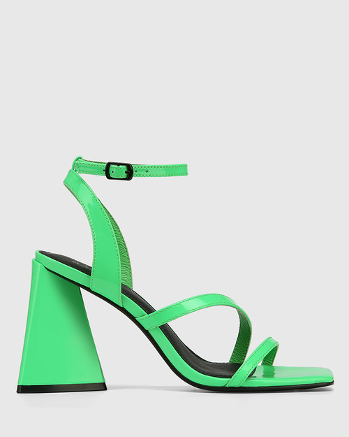 Raychie Kermit Green Patent Leather Angular Heel Sandal
