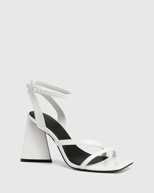 Raychie White Patent Leather Angular Heel Sandal