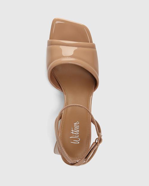 Krauss Sunkissed Tan Patent Leather Angular Heel Sandal