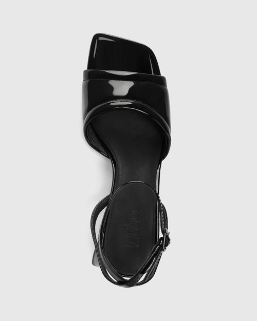 Krauss Black Patent Leather Angular Heel Sandal