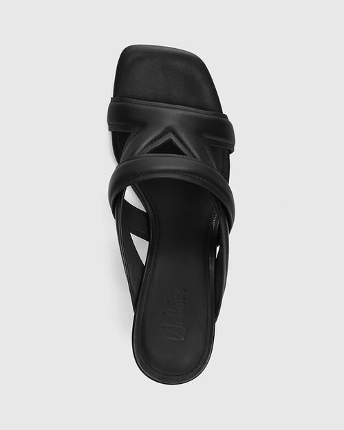 Casanova Black Leather Stiletto Heel Sandal